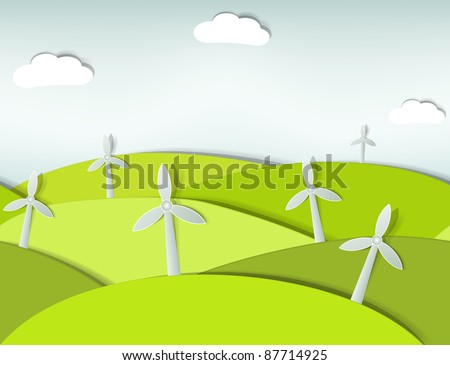 seamless landscape with wind turbines - stock vector