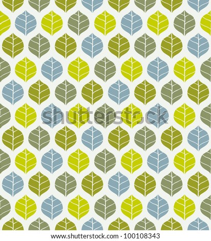 Seamless leaf pattern green and blue. Vector illustration - stock vector
