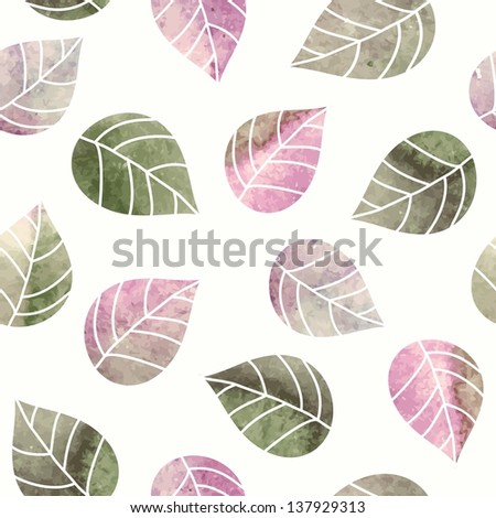 Seamless leaves pattern. Watercolor background. - stock vector