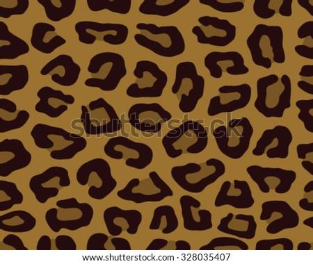 Seamless leopard skin texture, vector illustration - stock vector