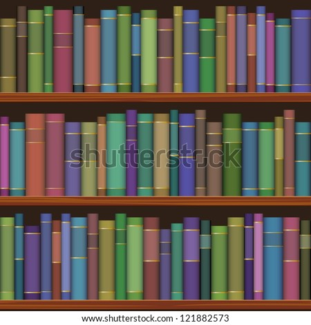 seamless library shelves with old books - stock vector