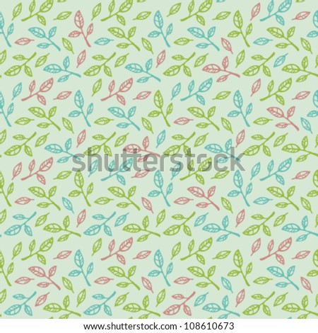 Seamless light vintage pattern with branches and leave. Gentle romantic background - stock vector