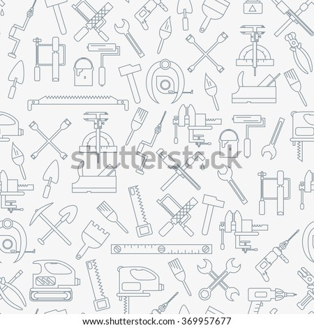 Seamless line pattern with working tools for construction, building and home repair icons. Vector illustration. Elements for design. Hand work tools collection. Graphic texture for design, wallpaper. - stock vector