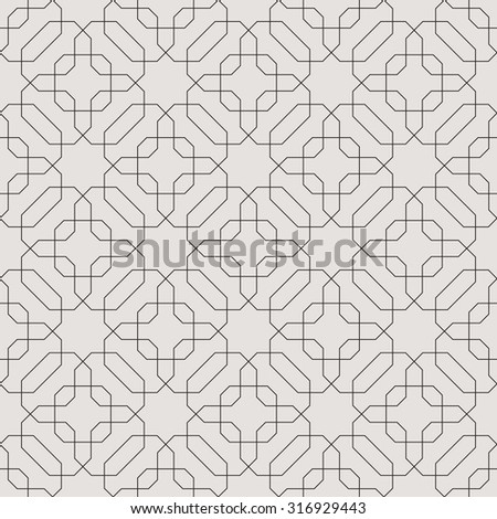 Seamless linear pattern with thin  lines, polygons and stars. Abstract Arabic ornament. - stock vector