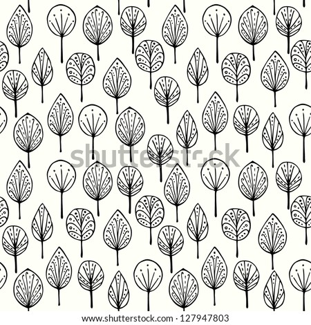 Seamless linear texture with ornamental leaves. Endless hand drawn black and white pattern. Template for design textile, backgrounds, packages, wrapping paper - stock vector