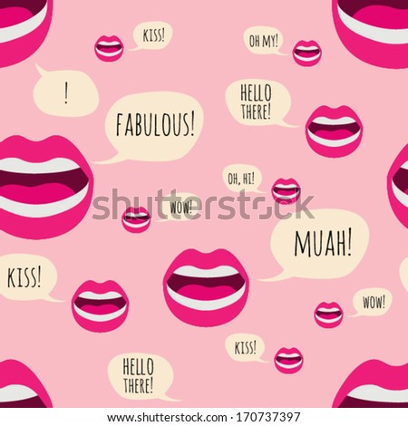 Seamless lips pattern with callouts.  - stock vector