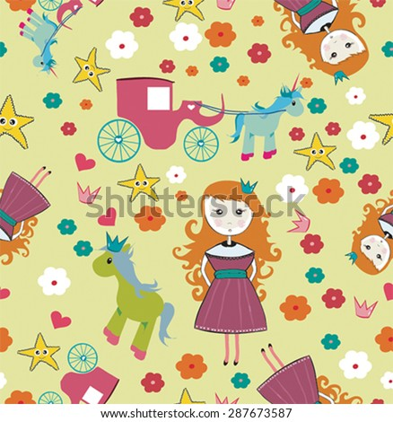 Seamless little girl princes with carriage and horse illustration background pattern in vector - stock vector