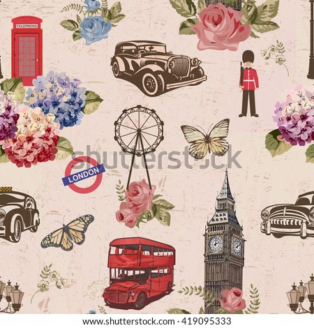 Seamless London travel wallpaper.Vintage background. - stock vector