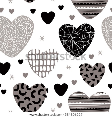 Seamless love design patchwork hearts for valentine and lovers background pattern in vector - stock vector