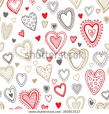 Seamless  love red and gold heart background. Vector illustration EPS10 - stock vector