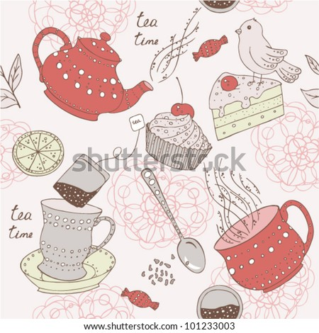 Seamless love tea pattern with sweets, cake and bird - stock vector
