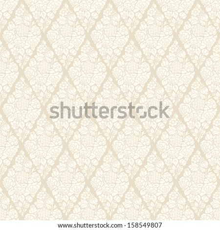 Seamless luxury vector vintage pattern with stylized flowers bouquets of roses, hydrangeas and anemones. White bouquets on a beige background. - stock vector
