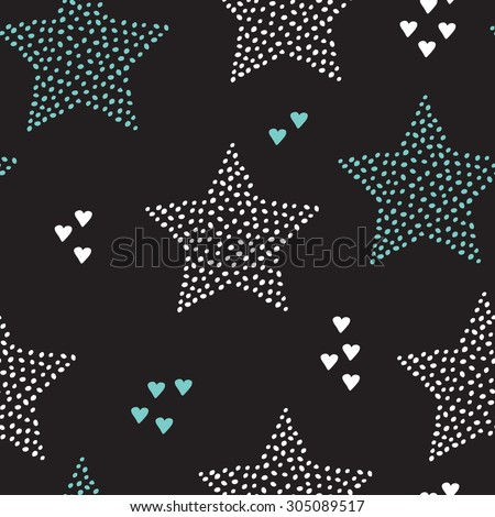 Seamless magic night start abstract christmas holiday decoration pattern background with love scandinavian style in vector - stock vector