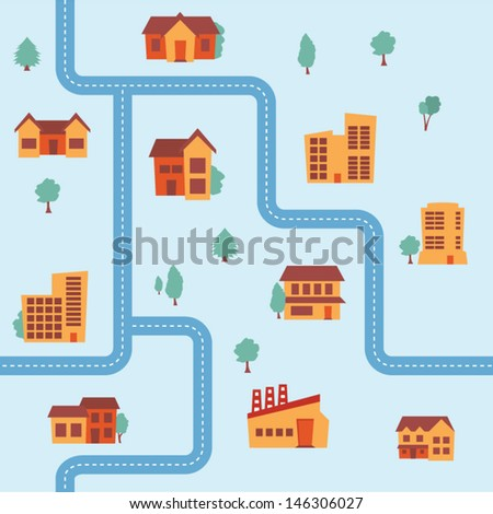 Seamless map background - stock vector