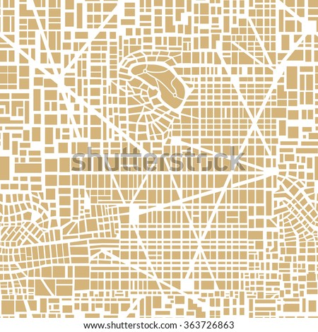 Seamless map of the city. Repeating city pattern.  Editable vector street  chart of a fictional generic town. Abstract urban background. - stock vector