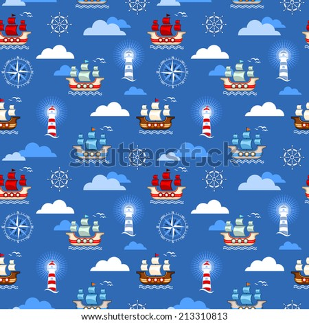 Seamless marine pattern with lighthouse, sailboat, rudder and compass - stock vector