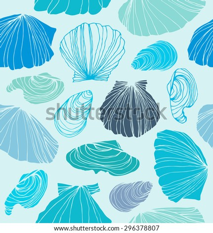 Seamless marine pattern with shells. Light blue graphic background with seashells - stock vector