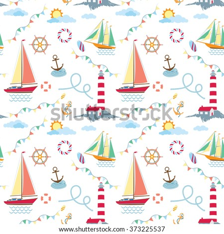 Seamless marine pattern with ships, lighthouse, rope, anchor, clouds and sun on navy blue background. May use for kids linen and wear - stock vector