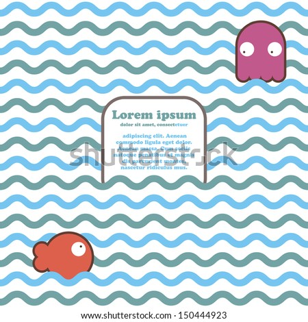 Seamless marine wave pattern with fish, octopus and place for text. Vector illustration - stock vector