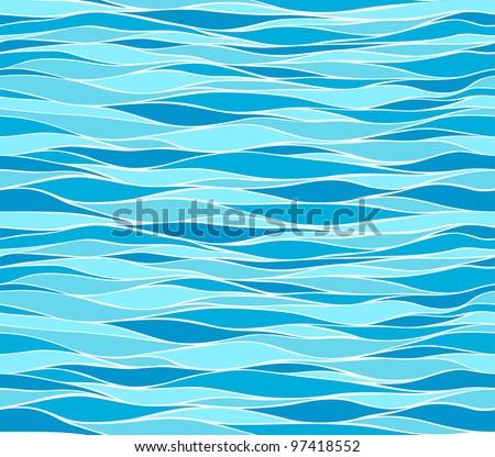 Seamless marine wave patterns - stock vector
