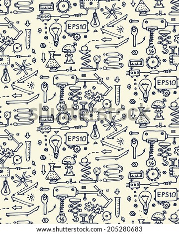 Seamless mechanism pattern. Vector illustration. - stock vector