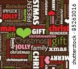 Seamless merry christmas holiday typography pattern in vector - stock vector