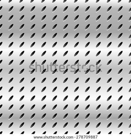 Seamless metal swatch. Perforated metal pattern with black holes. Industrial backdrop. - stock vector