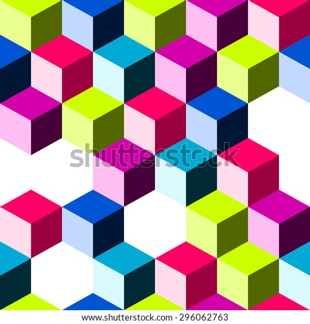 Seamless minimal dimensional geometric background with colorful blocks and cubes - stock vector
