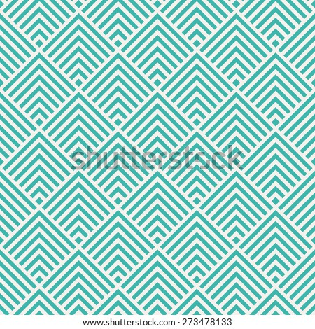 Seamless mint and white art deco square chevrons pattern vector - stock vector