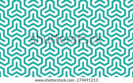 Seamless mint and white isometric hexagonal symmetry medieval pattern vector - stock vector
