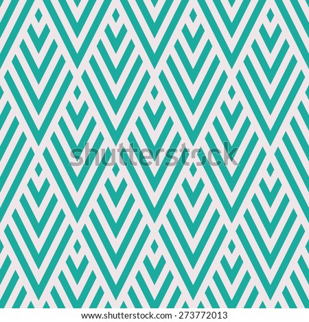 Seamless mint and white rhombic chevrons art deco pattern vector - stock vector