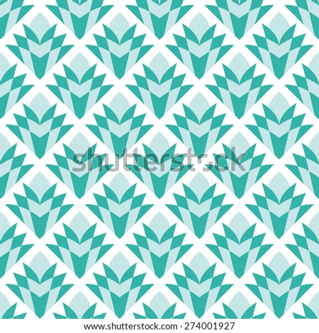 Seamless mint and white vintage diamond floral pattern vector - stock vector