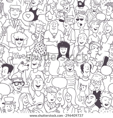 Seamless Modern Art Pattern: Collection of Hand-Drawn Doodles People. Funny Monochrome Background for Wallpaper or Cover Design. Black and White Linear Vector Illustration. - stock vector