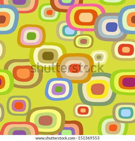 Seamless Modern Psychedelic Pattern with Colored Concentric Ellipses - stock vector