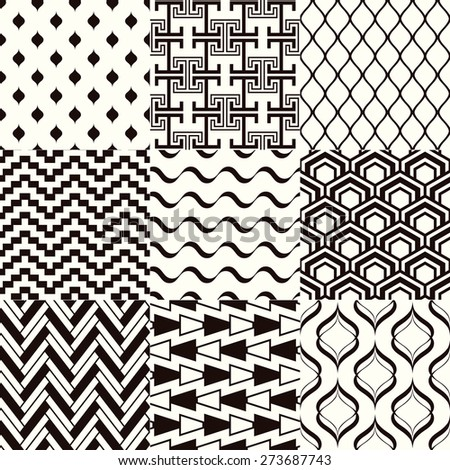 seamless monochromatic abstract geometric mesh pattern - stock vector
