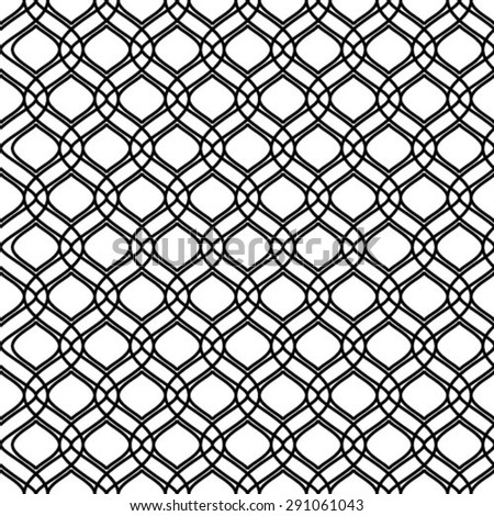 Seamless monochrome curves and rhombus. Repeating vector background. Black and white texture. - stock vector