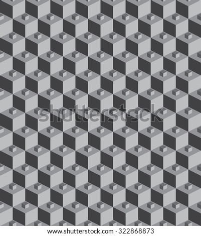 seamless monochrome 3d cube, vector illustration - stock vector