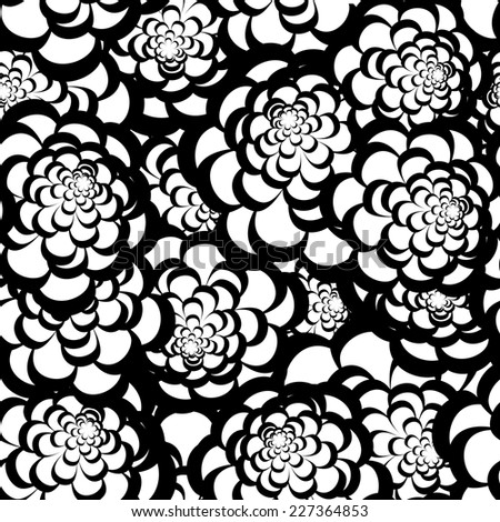 Seamless monochrome floral pattern for your design - stock vector