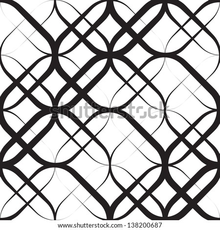 Seamless Monochrome Geometric Pattern - stock vector