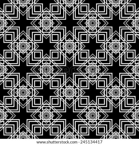 Seamless monochrome geometric pattern on black background. - stock vector