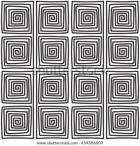 Seamless monochrome hand drawn meander pattern on white background. Design for background, paper packaging, wrapping paper. Vector illustration. - stock vector