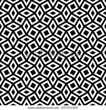 seamless monochrome pattern of tilted squares and rhombuses - stock vector