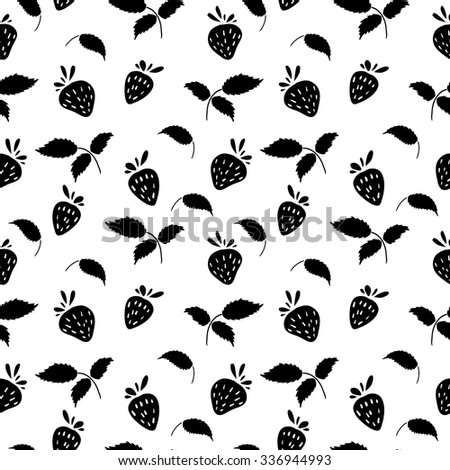 Seamless monochrome pattern with strawberries and leaves. Vector. - stock vector