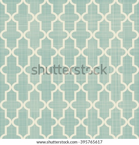 seamless Moroccan pattern in turquoise and beige on texture background - stock vector