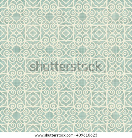 Seamless Moroccan pattern in turquoise and beige on texture background. Ethnic pattern. Can be used for ceramic tile, wallpaper, linoleum, surface textures, web page background. - stock vector
