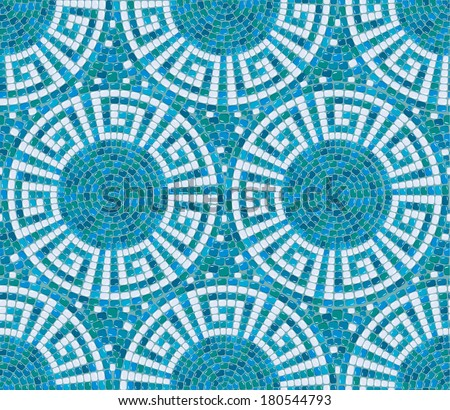 Seamless mosaic pattern -  Blue ceramic tile - classic geometric ornament - stock vector
