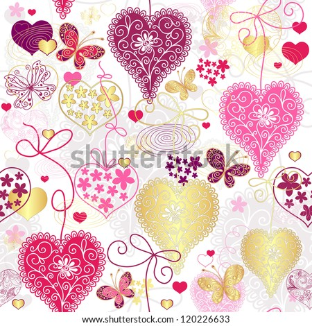 Seamless motley valentine pattern with decorative hearts and butterflies (vector) - stock vector