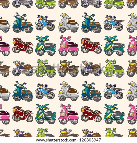 seamless motorcycles pattern,cartoon vector illustration - stock vector