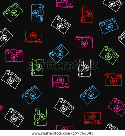 Seamless multicolor pattern with cameras. Decorative drawing background - stock vector
