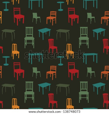 Seamless multicolored chairs and tables pattern - stock vector
